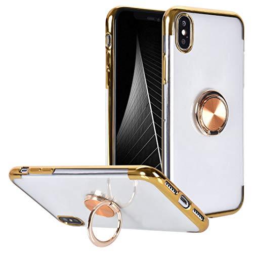 iPhone XS Housse avec Anneau de Support, 360 Degrés Rotation Anneau Bague avec Support Magnétique TPU Souple Anti-Scratch Silicone Transparente Couverture Étui à Rabat pour iPhone X / iPhone XS