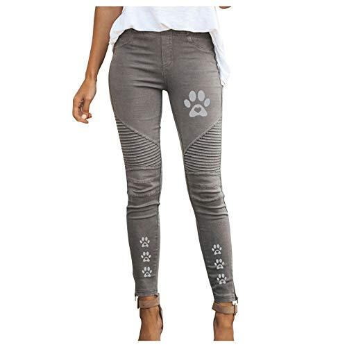 N/S Pantalones de Jean para Mujer de Talla Grande Pantalones Estampados con Huellas de Gato para Mujer Pantalones de Trabajo cómodos Informales Ajustados Pantalones elásticos de Cintura Alta