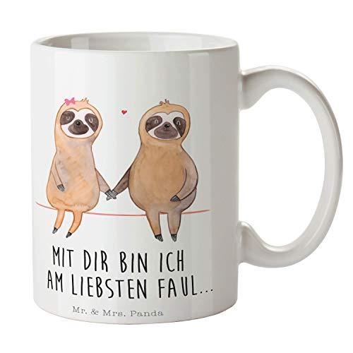 Mr. & Mrs. Panda Kaffeebecher, Tee, Tasse Faultier Pärchen mit Spruch - Farbe Weiß
