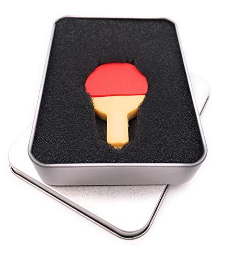 Onwomania - Raqueta de ping pong (USB, en caja de regalo), color rojo 128 GB USB 3.0