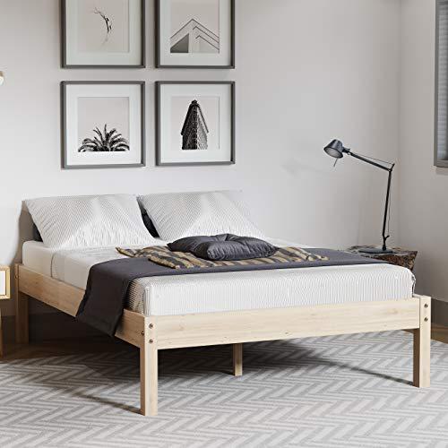 Merax Wood Massivholzbett,Holzbettrahmen mit Stützbeinen, Massivfichtenholzbett für Schlafzimmer, natürliche Holzfarbe (140 x 200)