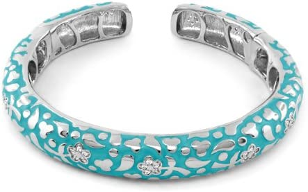 Lauren G. Adams Flowers by Orly Rhodium-Plated Cuff Bracelet with Blue Enamel