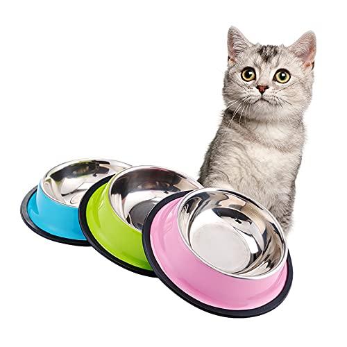 3 Stück Futternapf Katze Edelstahl Anti-Rutsch-Katzen Napf Katzenfutter Schüssel, Katze Wasser Schüssel