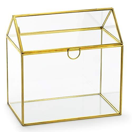 Glasbox Haus mit Goldenem Rand 13x21x21cm