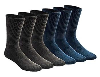 Dickies Men s Dri-tech Moisture Control Crew Socks Multipack Mixed Denim  6 Pairs  Shoe Size  6-12