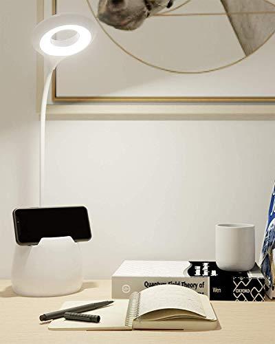 Schreibtischlampe Kinder, Leselampe Buch 16 Led Tischlampe 3 Helligkeit Bettlampe USB Wiederaufladbar Leselicht Touch-Schalter Dimmbar Schreibtischleuchte mit Nachtlicht für Arbeiten, Studieren -Weiß