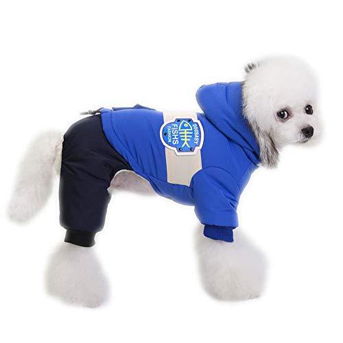 KSITH hondenkleding, winddicht, warm, met capuchon voor herfst en winter, M, Blauw