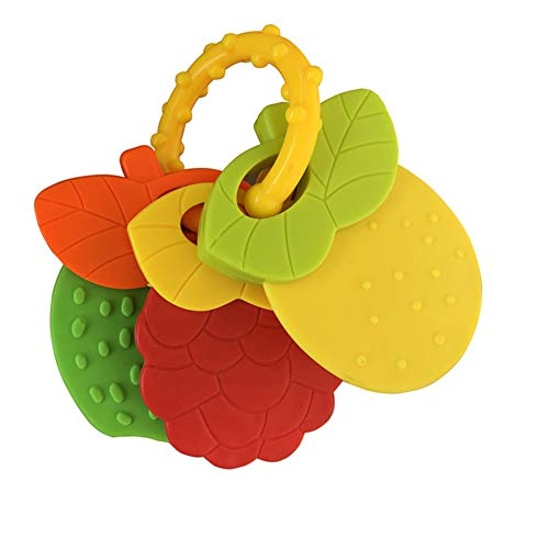 Best Buy! dSNAPoutof Newborn Baby Hand Jingle Shaking Rattles Infant Fruit Chewing Teether Toy Set C...