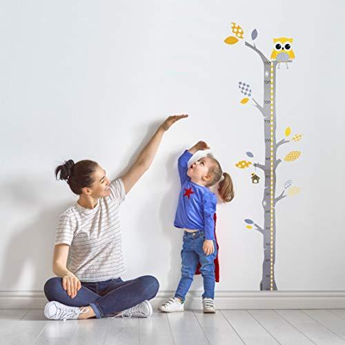 Brunoko vinilos infantil pared + medidor de niños para pared 2 en 1 - pegatinas pared decorativas infantil de árbol y búho - Vinilo ecológico extraíble para habitacion bebe - Diseñado en España