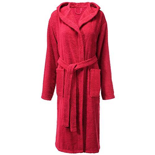CelinaTex Albornoz de mujer con capucha o ribete, algodón, bata de rizo para hombre, tallas S - XXL Corte burdeos para mujer. S