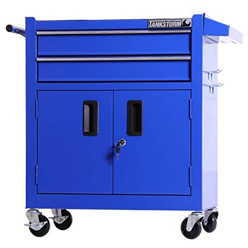 TANKSTORM Tool Chest Heavy Duty Cart Steel Rolling Tool Box with Lockable Doors (TZ12 Blue)