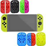 Fit Nintendo Switch Diadia Soft Silicone Case Cover Skin Protector Kit Set Accessories for Nintendo Switch (Blue red)