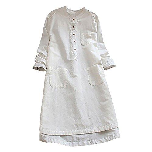 VEMOW Heißer Elegante Damen Frauen Retro Langarm Casual Lose Täglichen Party Tunika Taste Tops Bluse Mini Shirt Kleid(Y1-Weiß, 42 DE/L CN)