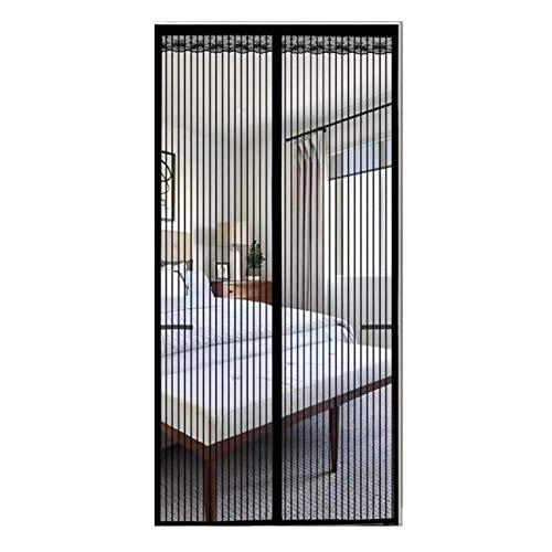 FDesign Magnet Fliegengitter Tür Insektenschutz, Der Magnetvorhang Für Holz, Eisen, Aluminium Türen Und Balkon, Einfache Installation,Schwarz,70x200cm