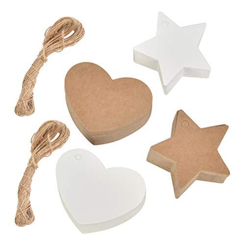 WOWOSS 200 Stks Kraft Gift Tags Wit en Bruin Gift Paper Tags Hart en Ster Gevormde Hang Gift Tap met String, Kleine Kraft Papier Tags voor Craft Kerst Decoraties