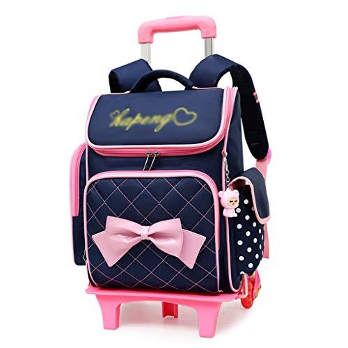 XHHWZB Rolling Backpack para niñas con Estuche de lápices y loncheras Mochilas Escolares Trolley Mochilas con Ruedas (Color : Azul Oscuro)