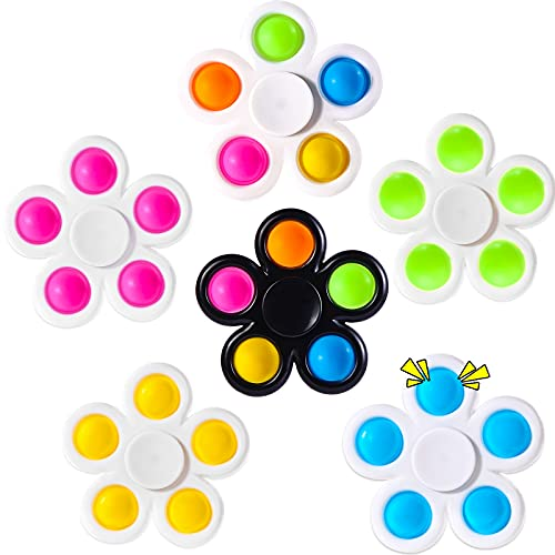 wellvo Push Bubble Fidget Packs with 6 Pack Pop Fidget Spinner Kids Party Favors Sensory Fidget Toys for Kids Adults 2 in 1 Stress ADHD Autism Anxiety Reducer Hand Spinners Toy Bulk