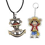 SUPFANS - Collar con colgante de calavera de anime con llavero acrílico de pirata Luffy...