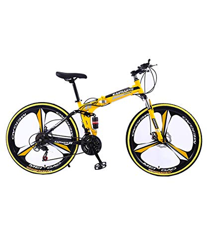 New 26 Inch Men Women Folding Mountain Bike with Double Full Suspension, 21/24/27 Speed Carbon Steel MTB Mountain Bike, Colorful Matching