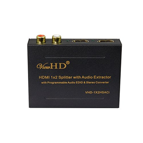 ViewHD 1x2 HDMI Splitter with Integrated Audio Extractor with Optical and RCA L/R Stereo Outputs | VHD-1X2HSACi