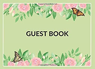 Guest Book: Cover featuring beautiful nature-themed | Multi-purpose sign-in book for all types of events and parties - Bir...