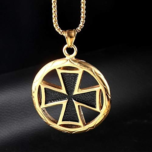 JJZCSXH Herren Edelstahl Hakenkreuz Halskette Vintage Tempelritter Anhänger runde Templer schwarz Malteserkreuz Symbol Anhänger,Gold