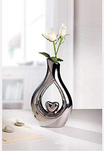 'Decorazione a forma di vaso 'argento cuore porcellana lucido argento 26cm