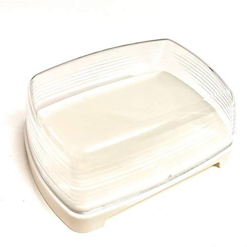 Kerafactum Mantequillera de plástico claro mantequilla queso lata con tapa transparente, sin BPA, para guardar el frigorífico, mantequilla de plástico, bandeja giratoria para servir queso