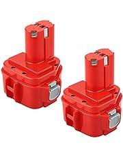 Power-XWT 12 1233S, 2 stuks, 12 V, 3,0 Ah, Ni-MH, gereedschapsaccu voor 1220, 1222, PA12 1233S, rood, vervangende accu