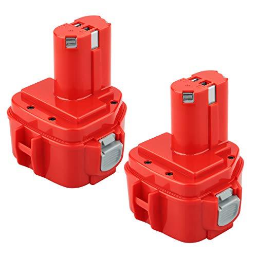 [2 Stück] POWER-XWT 12V 3,0Ah Ni-Mh Werkzeug Akku für Makita 1220 1222 PA12 1233S Rot Ersatzakku