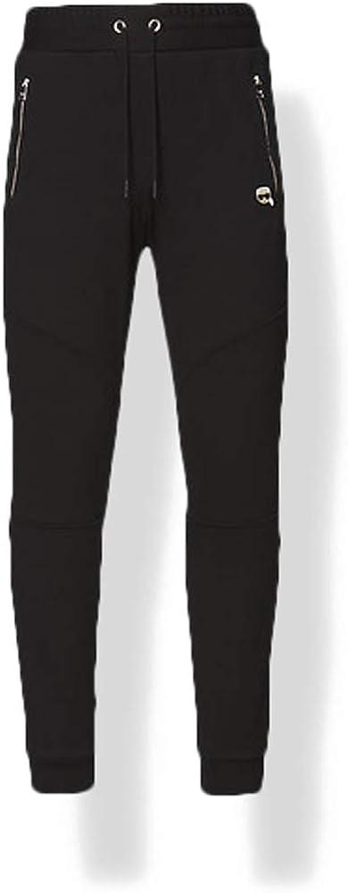 Karl lagerfeld lounge ikonik biker sweatpants, pantaloni sportivi per uomo,100 % cotone 211M1012