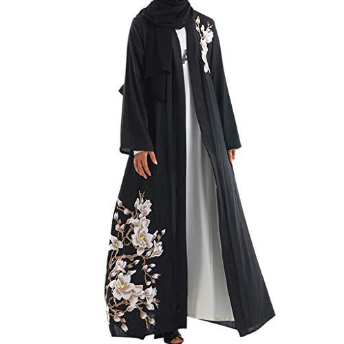 Lazzboy Vintage Women Abaya Long Maxi DRE Arab Jilbab Muslim Robe Islamic Kaftan Muslim Kleider, Damen Lange Arabische Muslimische Islamischer Dubai Kleidung(Schwarz,L)
