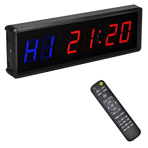PULIVIA Timer da Palestra,Timer per Intervalli di Fitness, LED Programmabile Intervallo Timer con Telecomando,Cronometro, Conteggio Su/Giù, Luminosità Regolabile, Supporta Fitness Interno ed Esterno