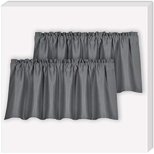 Grey Blackout Valance for Windows Room Darkening Energy Efficient Rod Pocket Topper Curtain Valance for Living Room,52Wx18L,Grey,Sold as 2 Panels