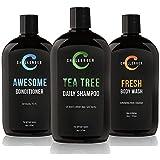 Challenger Men's Tea Tree Shampoo, Conditioner, & Fresh Body Wash Trio, 3X 16 Oz Bottles | Sulfate Free w/ Vitamins, Argan Oil, Biotin | Keratin, Vitamin C, Vitamin D, Protein, No Artificial Colors