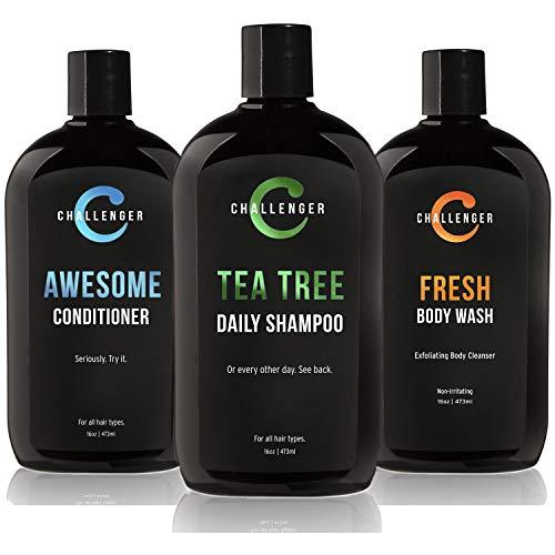 Tea Tree Shampoo, Awesome Conditioner, Fresh Body Wash Trio - Three 16oz Sulfate Free w/Vitamins, Argan Oil, Biotin - For Men & Women - Keratin, Vitamin C, Vitamin D, Protein, No Artificial Colors