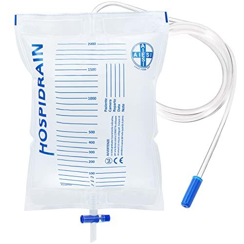 AIESI Sacche per urina da letto 2 litri tubo 120 cm con rubinetto di scarico a croce (T) e valvola antireflusso HOSPIDRAIN (Confezione da 25 pezzi)