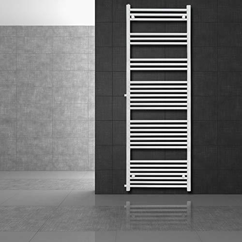 ECD Germany Radiador toallero Sahara - 600 x 1800 mm - Blanco - plano - con conexión lateral - Secador de toallas Radiador de toallas de diseño moderno - No electrico