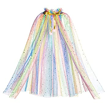 Princess Birthday Party Cape Cloaks for Little Girls Dress Up Rainbow 3-4 Years  S