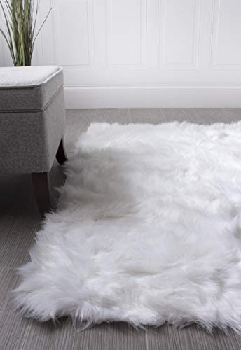Serene Super Soft Faux Sheepskin Shag Silky Rug Baby Nursery Childrens Room Rug Ivory White, 2' x 3'