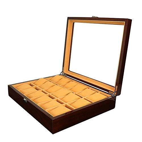 JIANGCJ Bonita caja de almacenamiento de reloj de madera, caja de joyería, 18 relojes pintados, exhibición de joyas (color negro, tamaño: S)