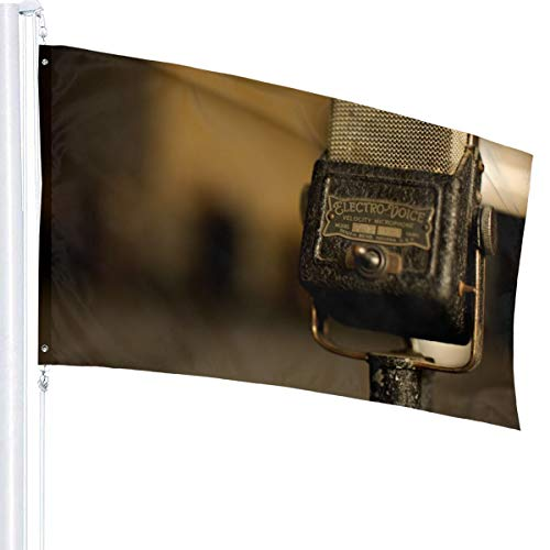 N/A Vintage Microfoon Vlag Premium Polyester Decoratie Vlag 5ft x 3ft