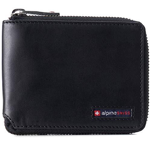Alpine Swiss Logan Mens RFID Safe Zip Around Wallet Cowhide Leather Zipper Bifold with Gift Box Black