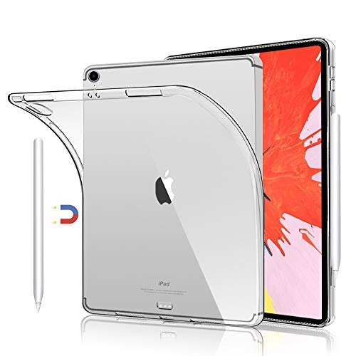 Flexible TPU Silicon Cases for iPad Pro 12.9 inch 2018, Support Apple Pencil Charging, Clear Transparent Slim TPU Cover Case for 12.9' iPad Pro 2018 Release 3rd Generation