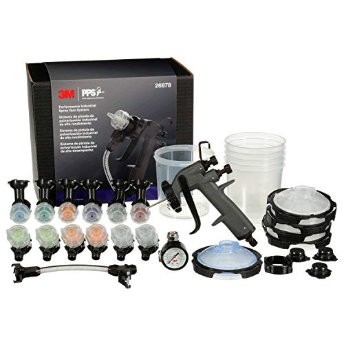 3M Performance Industrial Spray Gun Starter Kit, 26878, Includes PPS Series 2.0 Paint Spray Cup System, 12 Replaceable Nozzles in for Pressure and Gravity Painting, Whip Hose, Air Control