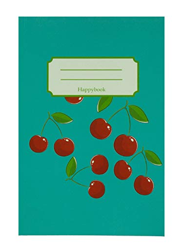A5 Notitieboek Turquoise met Kersjes Gelijnd Lijntjes 100 pagina's 100 grams Papier Natuurlijk getint Werk Stdie
