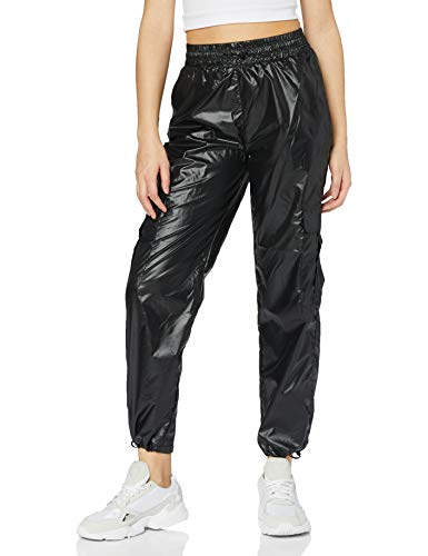 Urban Classics Damen Ladies Shiny Cargo Track Pants Hose, Black, M