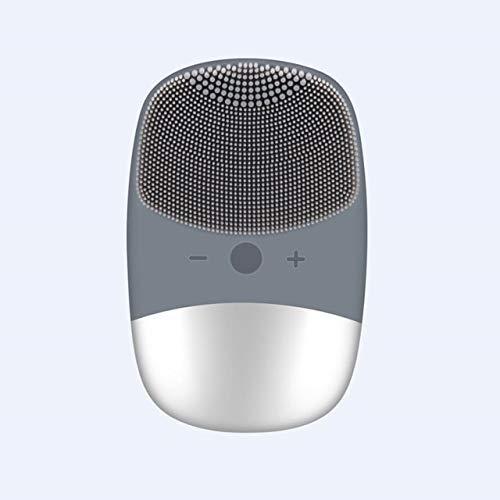 Aura de nettoyage Brosse Vibrating silicone Électro Nettoyant Visage imperméable comédons massage facial (Color : Grey)