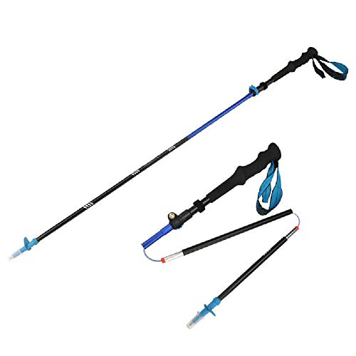 YHDQ Outdoor-Trekkingstöcke rutschfeste Griffe ultraleichte, einziehbare, zusammenklappbare Kletterstockkrücken-Blue