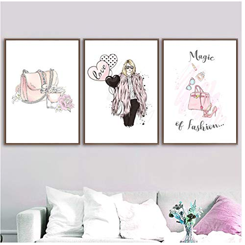 Populair Cartoon Meisje Parfum Ballon Hoge Hakken Schoenen Muurposter Print Canvas Schilderen Meisjes Kamer Decor -50x70cmx3pcs -Geen Frame